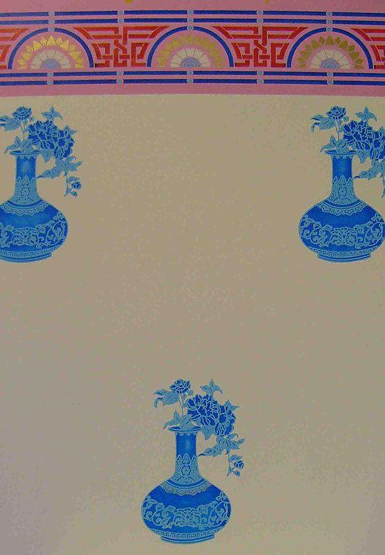 Silhouette stencil vase & Chinoiserie border60