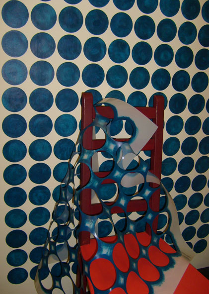 Modern dot stencil wall