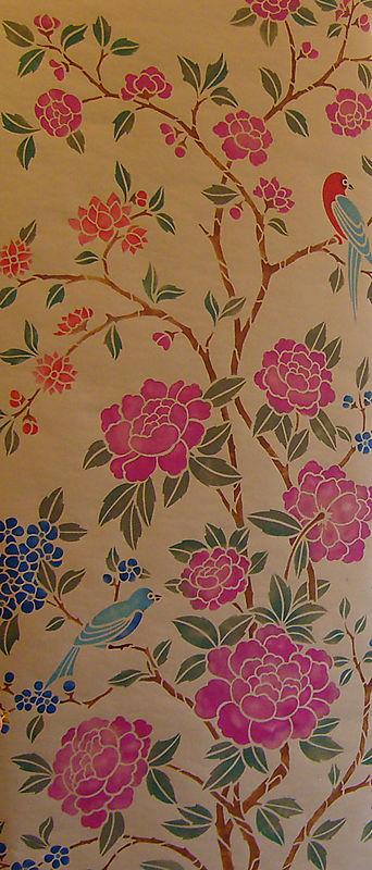 Chinoiserie stencil panel detail