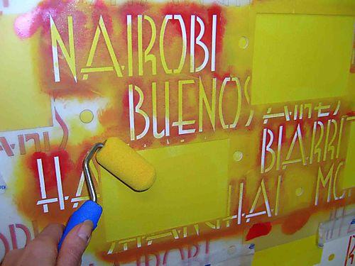 Stencilling the postcard wallEM18