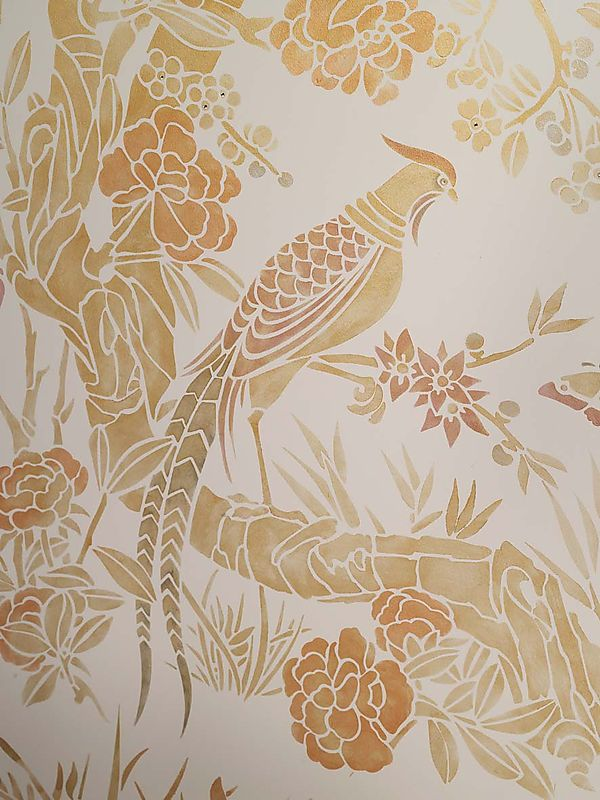 Chinoiserie wall stencil for Chinoiserie design
