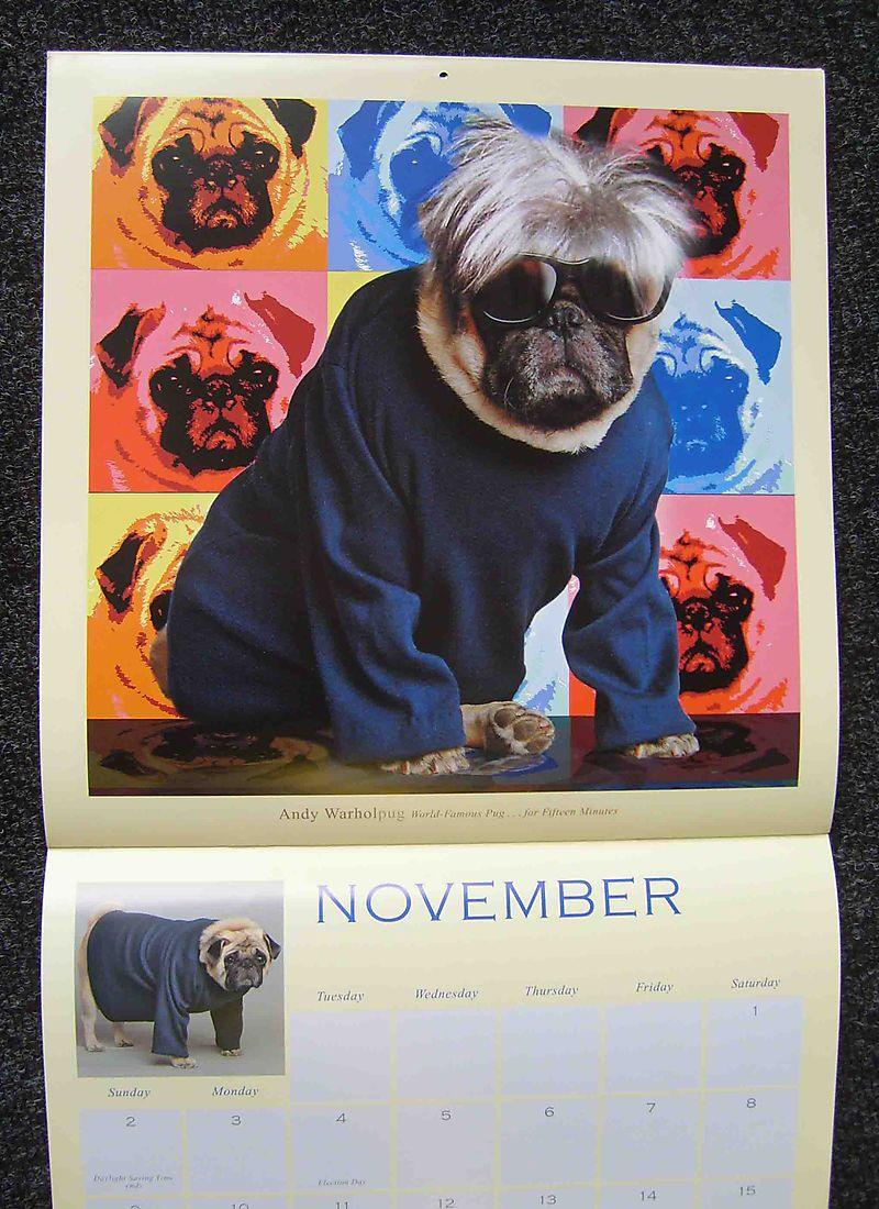 Warhol from Fabulous pugs calendar93