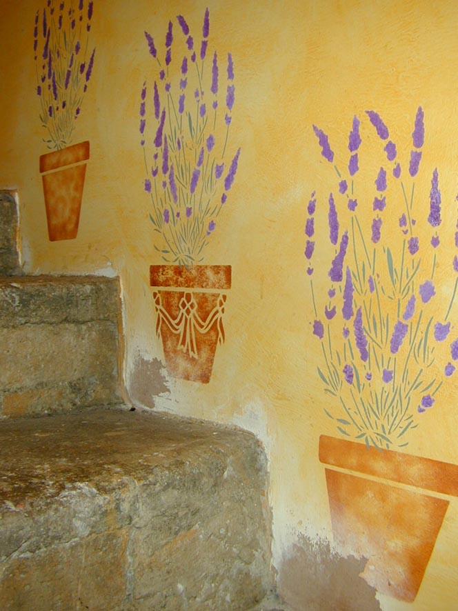 GR lavender & swag pot stencil