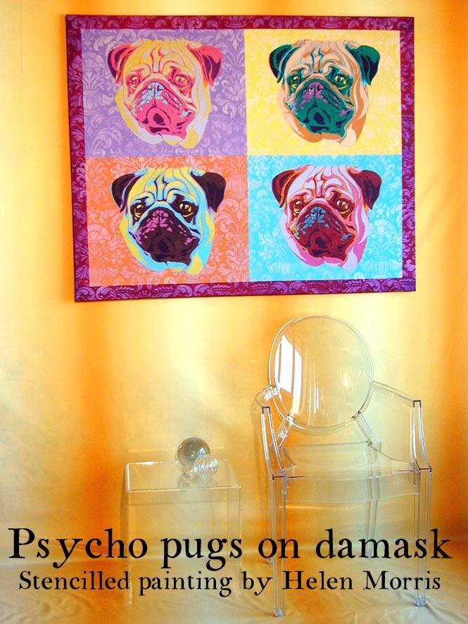 Stencilled Pugs by Helen Morris