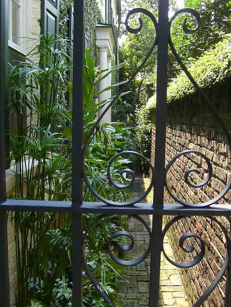 Garden behind gate