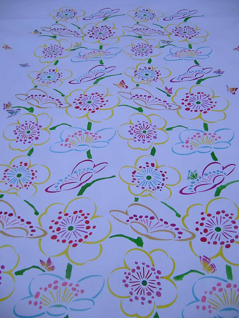 Stencilled cherry blossom tablecloth61
