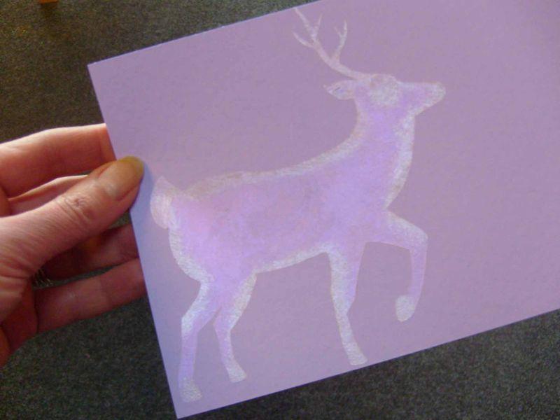 Reindeer stencil iridescet paint 65