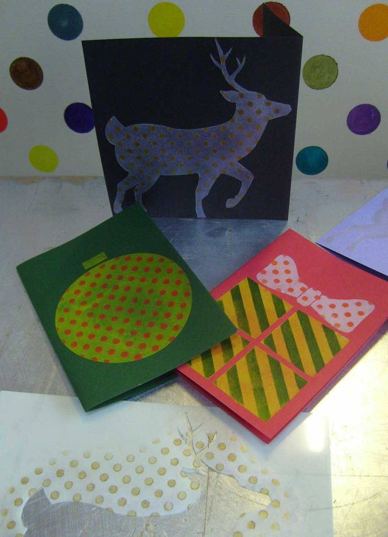 Spot and stripey stencilled cards