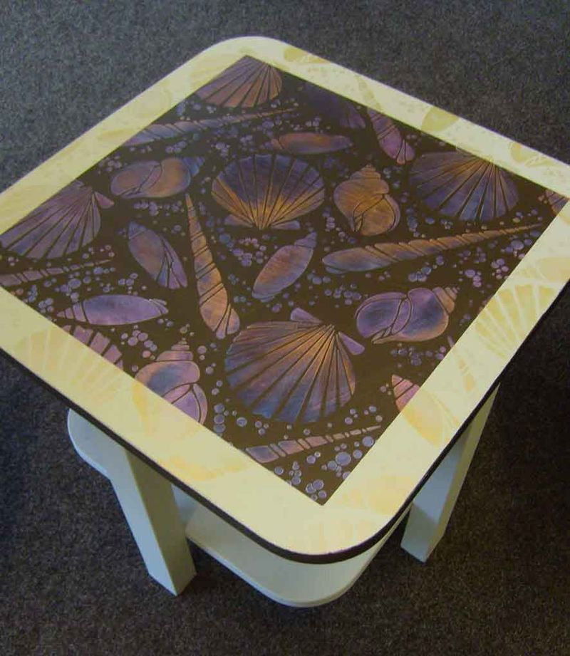 Art deco shell stenciled table34
