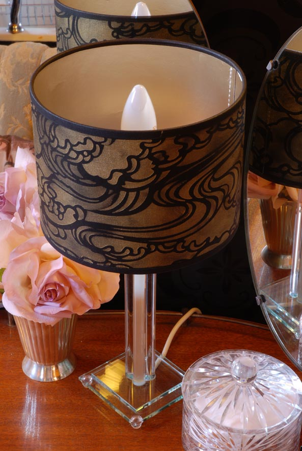 JA Wave stencilled lampshade 23