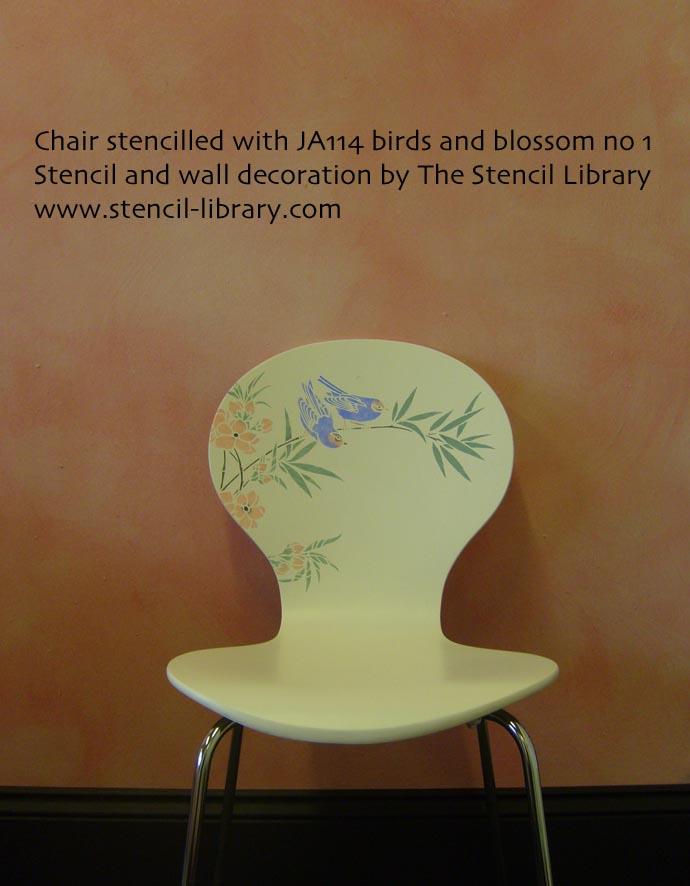 Chair stencil JA114 black text