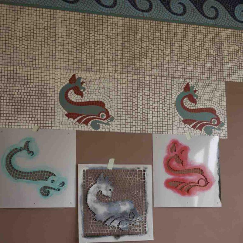 Mosaic fish small. detail