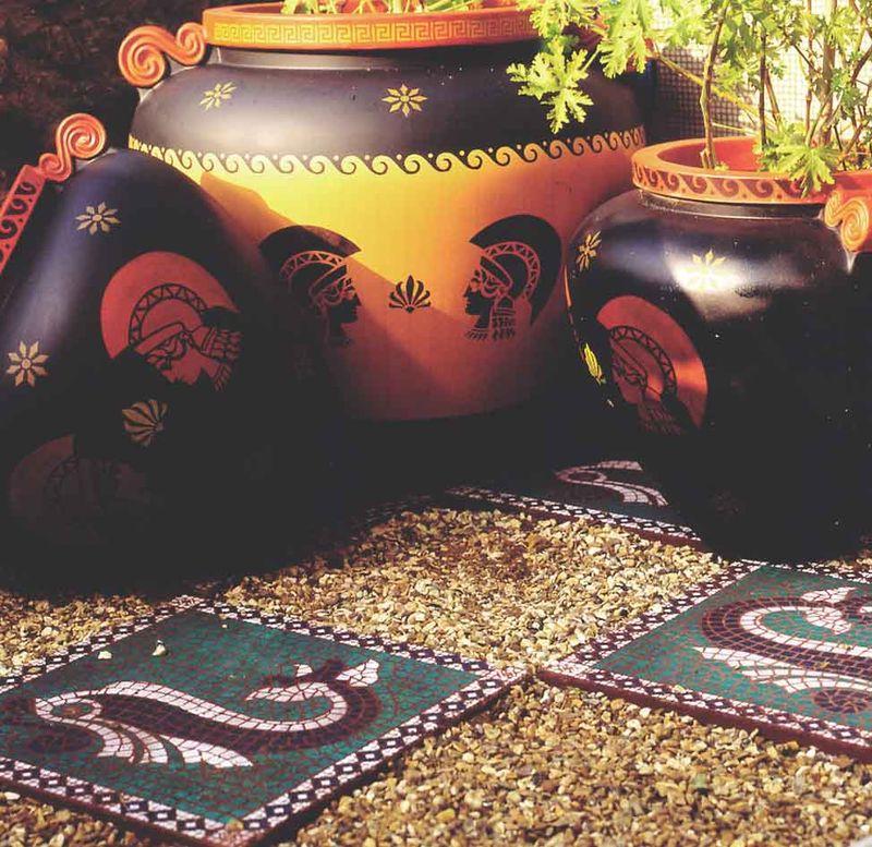 Stencilled Greek pots