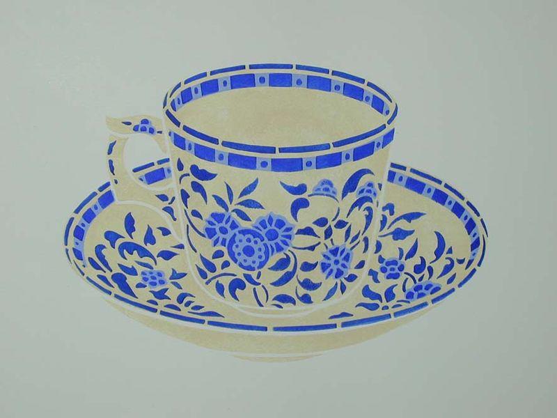 BW10 stencil of tea cup