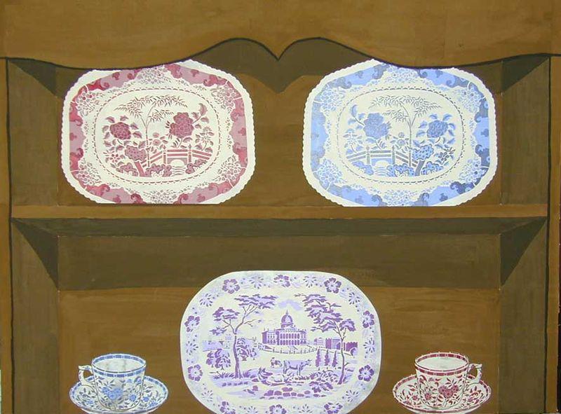 BW plates on pantomime dresser 23