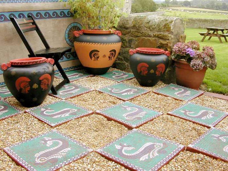 Stencilled mosaic patio 10