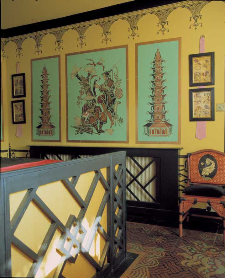 Stenciled chinoiserie bedroom