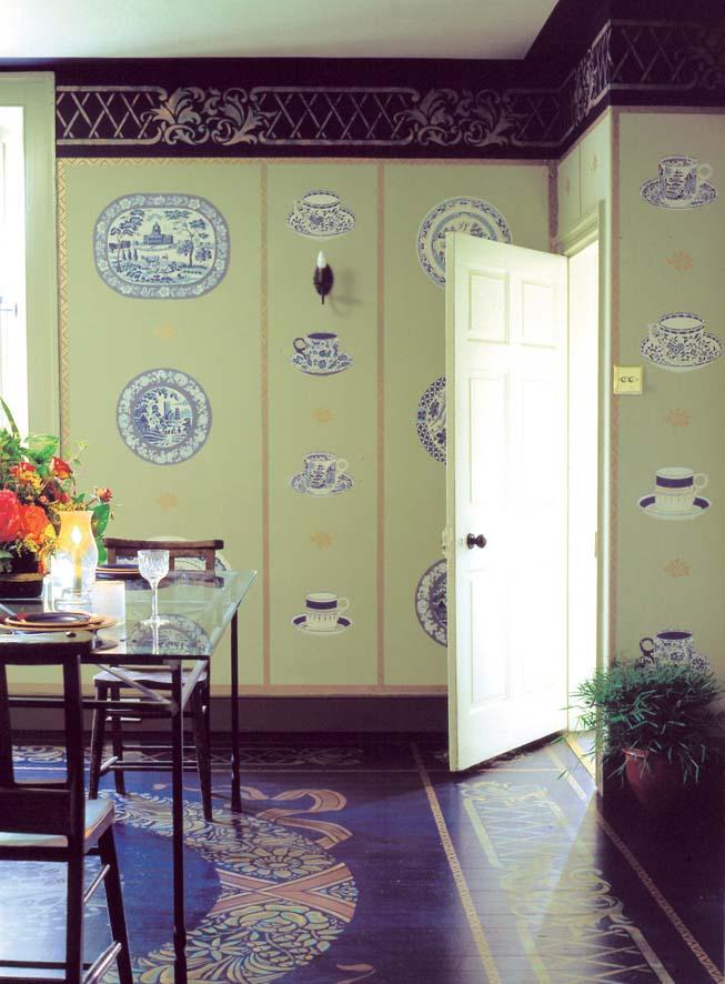 Dining room B&W stencils
