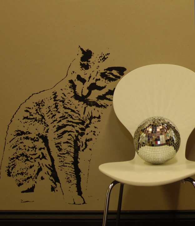 Baroque cat stencil mirror ball