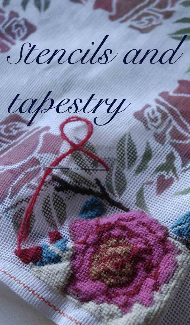 Stencilled tapestry rose.42