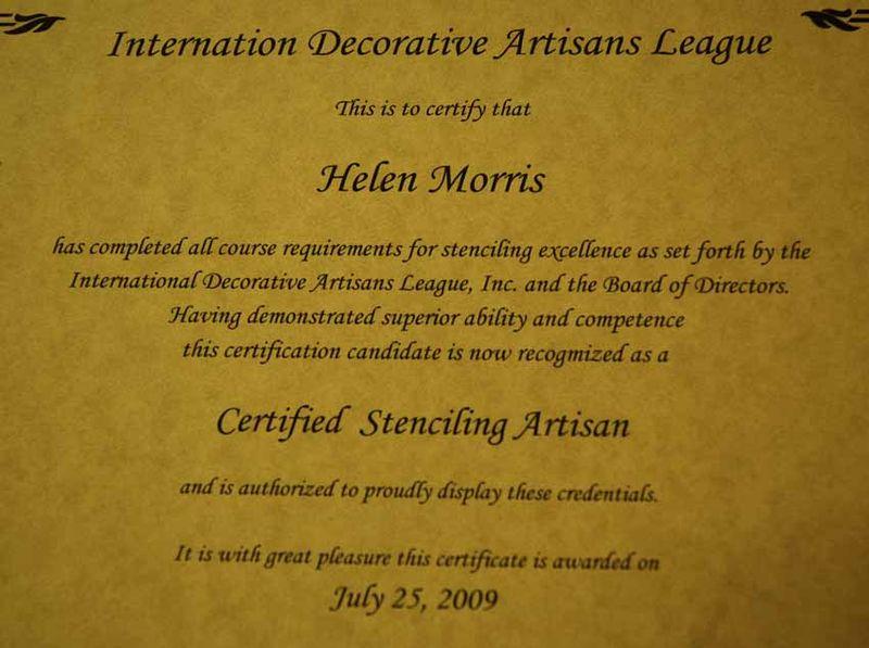 Helen Morris stenciling certificate