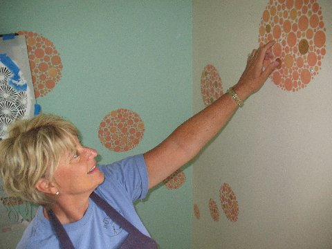 Bonnie Fulks with chive stencil