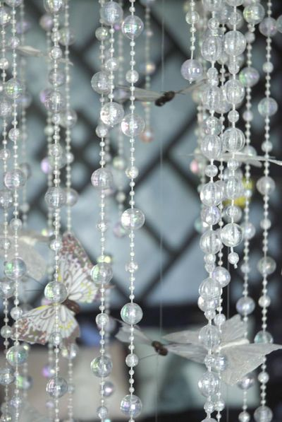 Stencil library bead chandelier