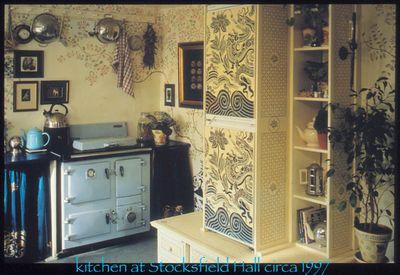 Cream stencil library kitchen text