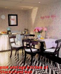 Pink stencil library kitchen