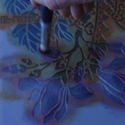Crimson on magnolia stencil 261