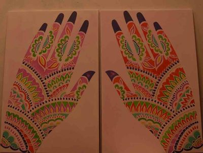Mehndi hand stencil; paintings 6-2