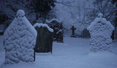 Bywell gravestones in snow 251