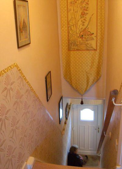 Mum on stencilled stairs 4593