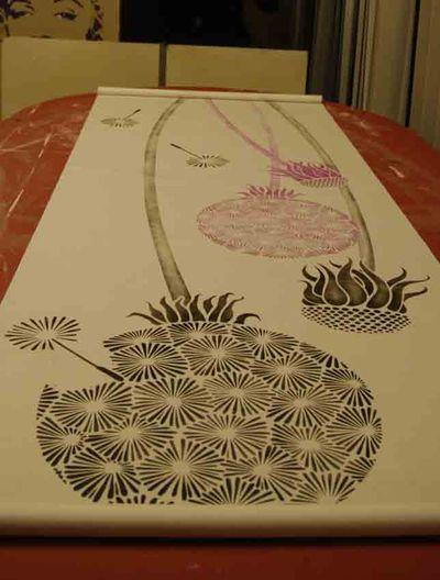 Dandelion stencil on blind 00