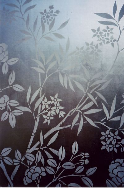 White chinoiserie stencil on silver em