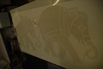 Large baby elephant stencil 70