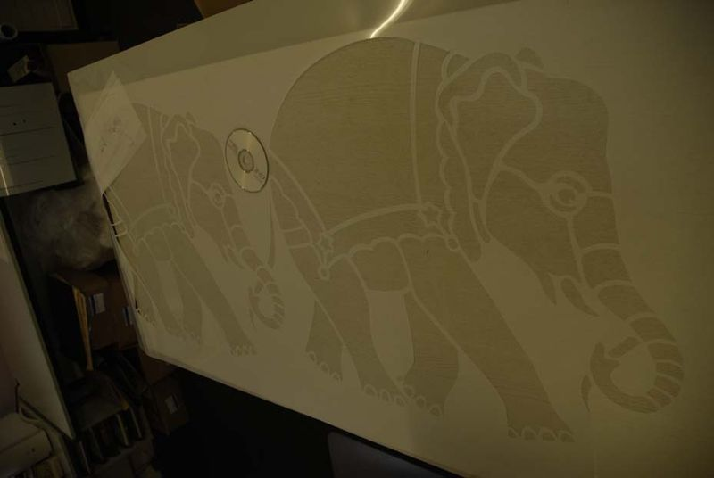 Large baby elephant stencil 70