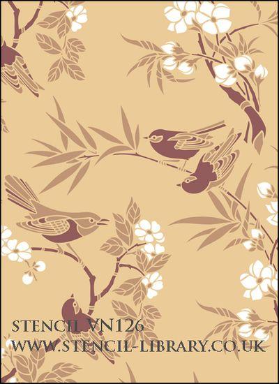 Birds & Blossom stencil VN 126