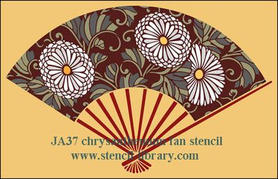 Ja37 japanese fan stencil-library