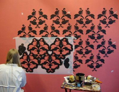Large damask stencil wall