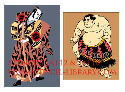 Japanese style stencils sumo