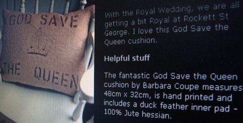Stencilled God save cushion.88