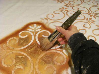 stencil fabric wallover