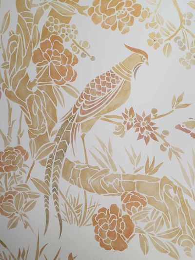 Chinoiserie stencil library white