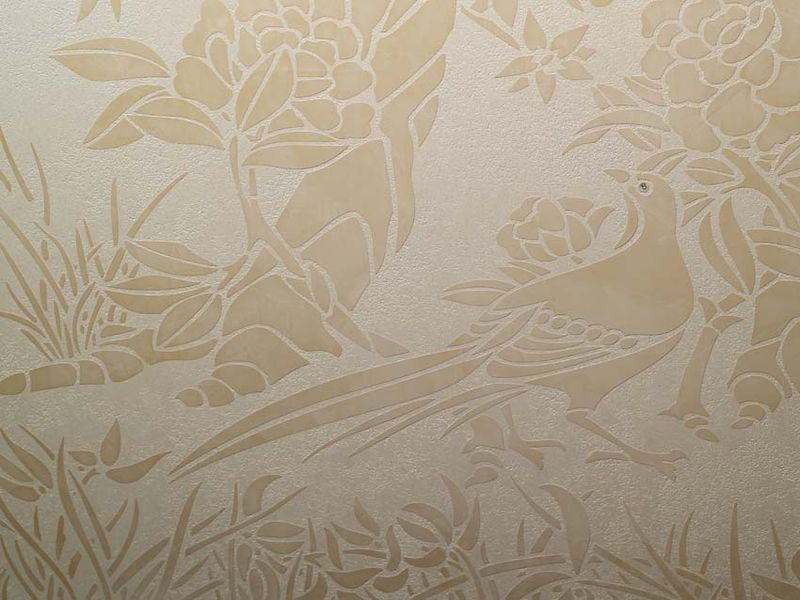 Chinoiserie stencil using plaster