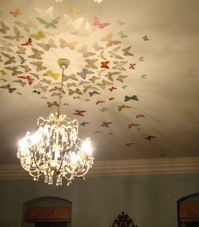 Butterflies stenciled ceiling 31