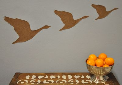 Geese stencil & decoupage
