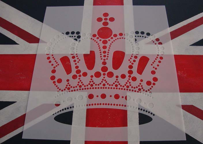 Crown stencil and union flag 98