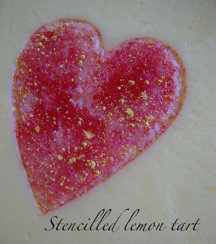 Stencilled heart lemon tart 67