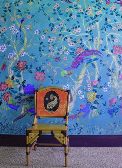 Chinoise stencil turq wall 17